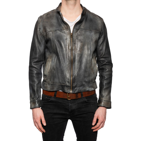 GIANLUCA VACCHI Collection Dark Gray Antiqued Leather Bomber Biker Jacket L