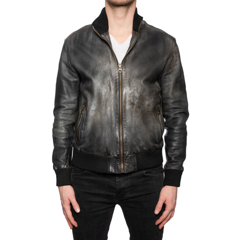 GIANLUCA VACCHI Collection Dark Gray Antiqued Leather Bomber Jacket L