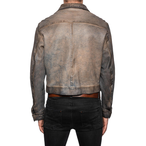 GIANLUCA VACCHI Collection Gray Antiqued Leather Blouson Jacket M
