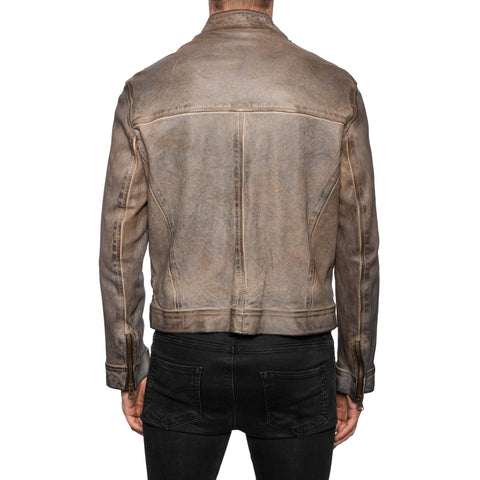 GIANLUCA VACCHI Collection Gray Antiqued Leather Bomber Biker Jacket L