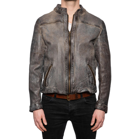 GIANLUCA VACCHI Collection Gray Antiqued Leather Cafe Racer Jacket M
