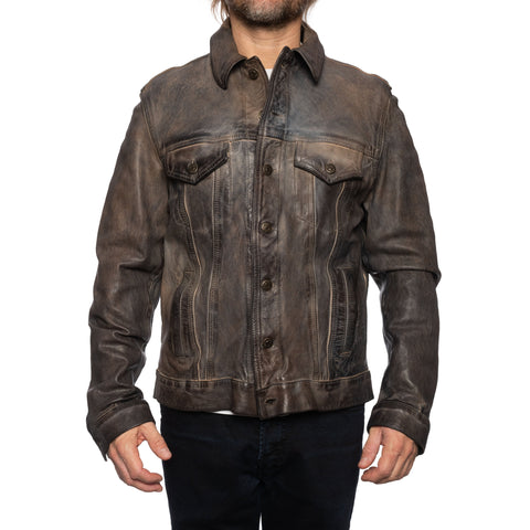 GIANLUCA VACCHI Collection Gray Antiqued Leather Trucker Jacket S