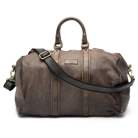 GIANLUCA VACCHI Collection Gray Antiqued Vintage Look Leather Duffle Bag NEW