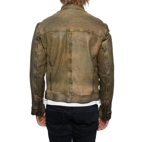GIANLUCA VACCHI Collection Green Antiqued Leather Bomber Biker Jacket S