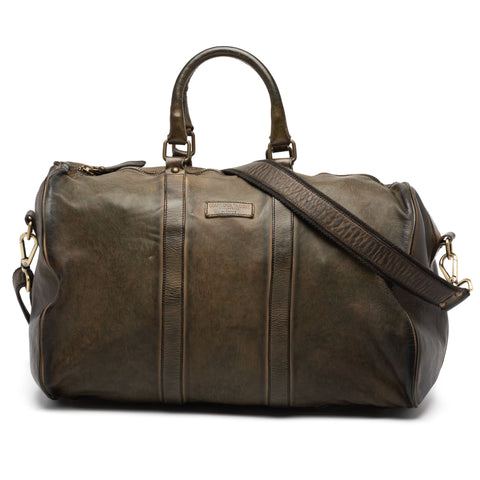 GIANLUCA VACCHI Collection Green Antiqued Vintage Look Leather Duffle Bag NEW