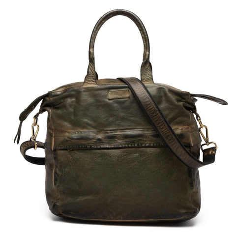 GIANLUCA VACCHI Collection Green Antiqued Leather Holdall Bag NEW