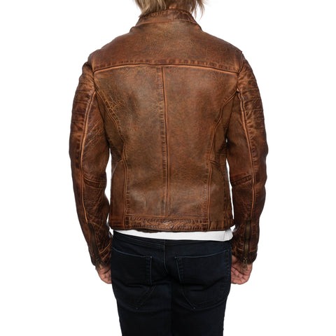 GIANLUCA VACCHI Collection Rust Brown Antiqued Leather Cafe Racer Jacket XS