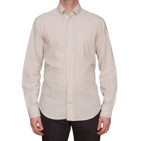 GITMAN BROS Vintage Beige Striped Cotton Button-Down Shirt NEW US L
