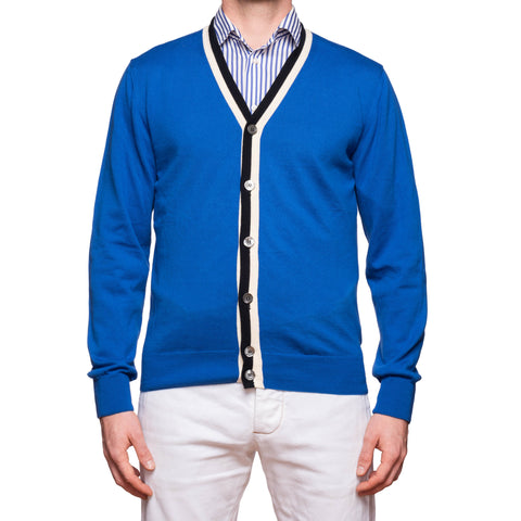 HACKETT LONDON Blue Cotton Cardigan Sweater EU 50 NEW US M Made in Italy