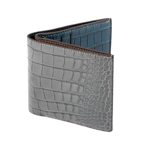 HUGHES HANDCRAFTED Gray Alligator Leather Billfold Card Holder Wallet NEW