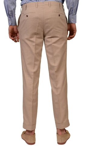 INCOTEX Sand Glen Plaid Cotton Flat Front Dress Pants EU 50 NEW US 34