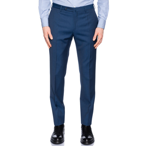 INCOTEX (Slowear) Blue Herringbone Wool Flat Front Pants NEW Slim Fit