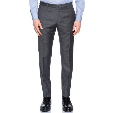 INCOTEX (Slowear) Gray Worsted Wool Flat Front Dress Pants NEW Slim Fit