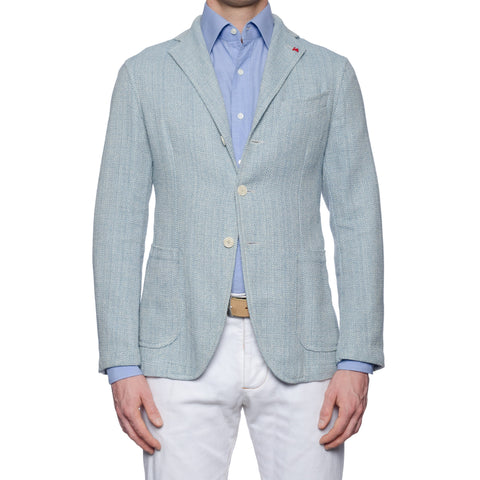 "ISAIA Napoli ""Augus"" Handmade Blue Herringbone Cotton Unlined Jacket 50 NEW 40"