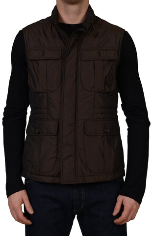 ISAIA Napoli Brown Extralight Aqua Polyester Hidden Hooded Vest US M NEW EU 50