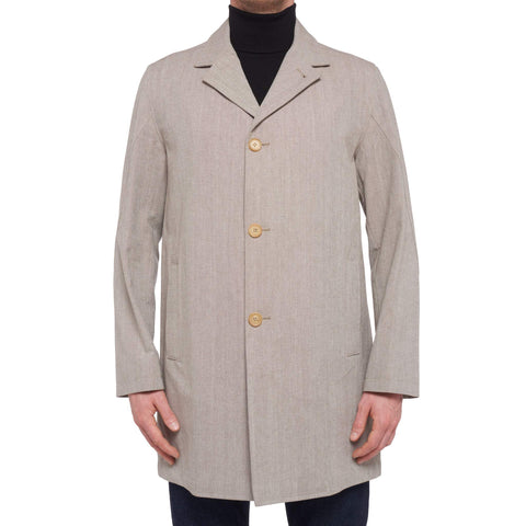 K. PUNTO ROSSO by KITON Napoli Gray Twill Cotton Coat Jacket EU 50 NEW US 40 M