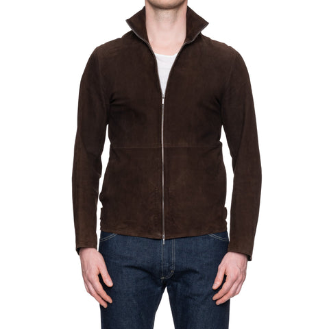 KILGOUR Savile Row London Brown Suede Leather Unlined Blouson Jacket US S