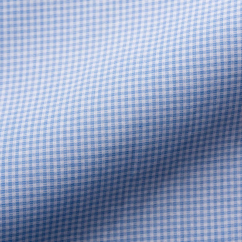 KITON Handmade Bespoke Blue Mini Check Broadcloth Cotton Dress Shirt NEW US 16