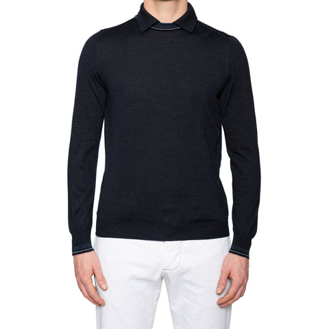 KITON Napoli Dark Blue Cashmere-Silk Crewneck Polo Sweater EU 50 NEW US M