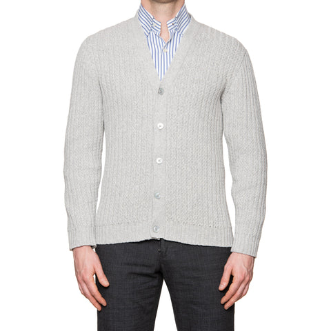 KITON Napoli Gray Cotton-Cashmere-Silk Knitted Cardigan Sweater EU 50 NEW US M
