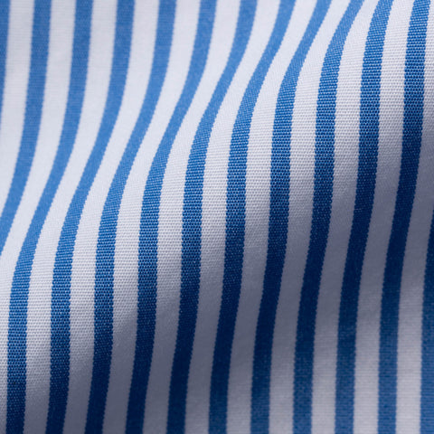 KITON Napoli Handmade Bespoke Blue Striped Poplin Cotton Dress Shirt US 15.75