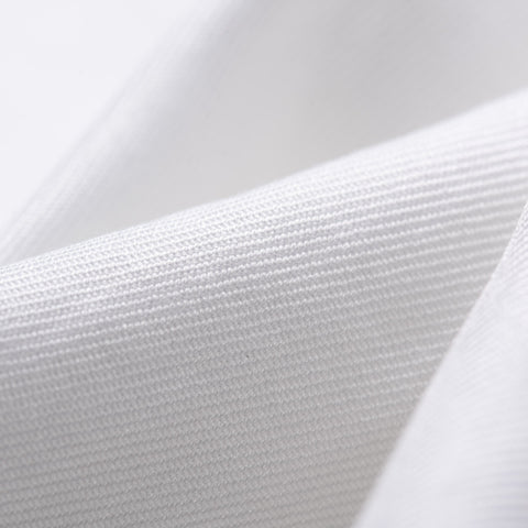 KITON Napoli Handmade Bespoke Solid White Twill Cotton Dress Shirt US 15.75