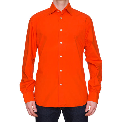 KITON Napoli Handmade Solid Orange Poplin Cotton Garment Dyed Shirt EU 42 US 16.5