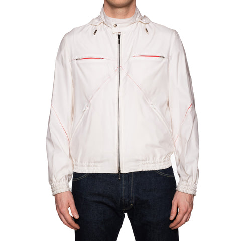 KITON Napoli White Polyester Hooded Windbreaker Jacket EU 48 NEW US 38
