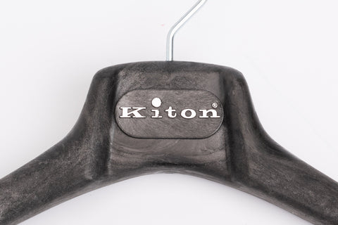 KITON Black Plastic Wood Look Coat Hanger Set of 5 Size 39/XS 43/M-L 46/XL
