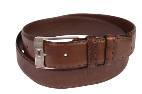 KITON Brown Hand-Stitched Leather Sterling Silver Buckle Dress Belt NEW With Box - SARTORIALE - 1