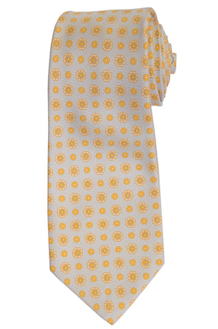 KITON Hand Made Gray Flower Medallion Silk Seven Fold Tie NEW
