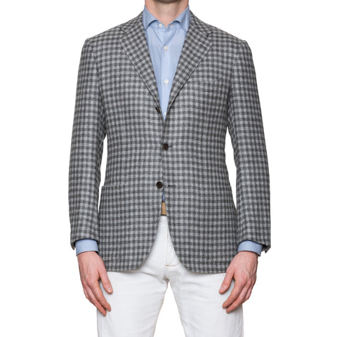 KITON Handmade Gray Gingham Plaid Cashmere-Vicuna-Silk Jacket EU 48 NEW US 38