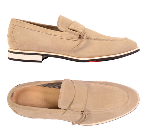KITON NAPOLI Handmade Beige Suede Leather Casual Slip-On Shoes NEW - SARTORIALE - 1