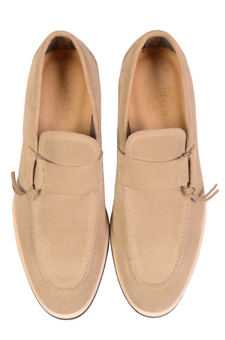 KITON NAPOLI Handmade Beige Suede Leather Casual Slip-On Shoes NEW - SARTORIALE - 2