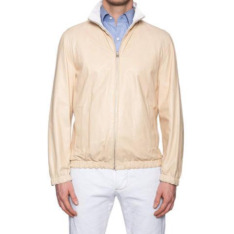 KITON Napoli Beige Pearl Reversible Leather Silk Jacket EU 50 NEW US M