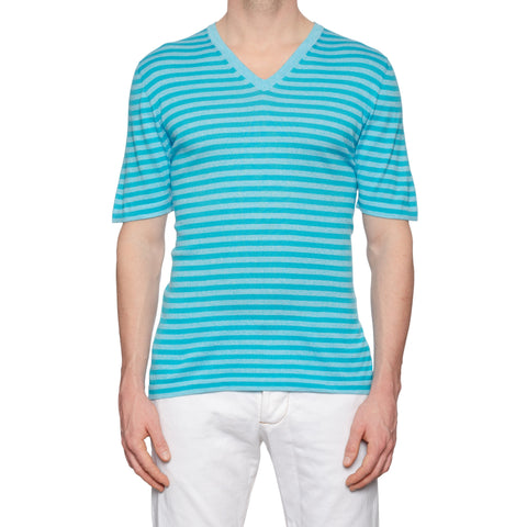 KITON Napoli Blue Striped Cotton V-Neck Short Sleeve T-Shirt EU 50 NEW US M
