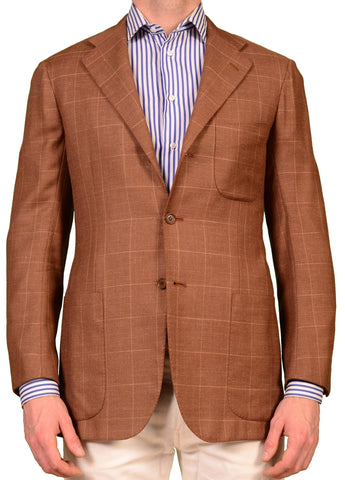 KITON Napoli Brown Windowpane Cashmere-Linen Blazer Jacket EU 48 NEW 38 L - SARTORIALE - 1