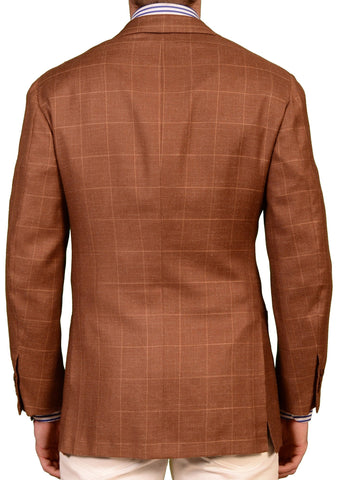 KITON Napoli Brown Windowpane Cashmere-Linen Blazer Jacket EU 48 NEW 38 L - SARTORIALE - 2
