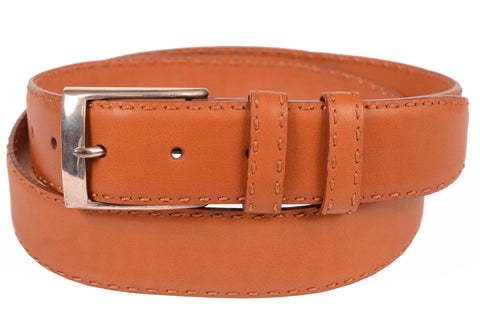 KITON Napoli Cognac Hand-Stitched Leather Silver Buckle Dress Belt 95/38 NEW Box - SARTORIALE - 1