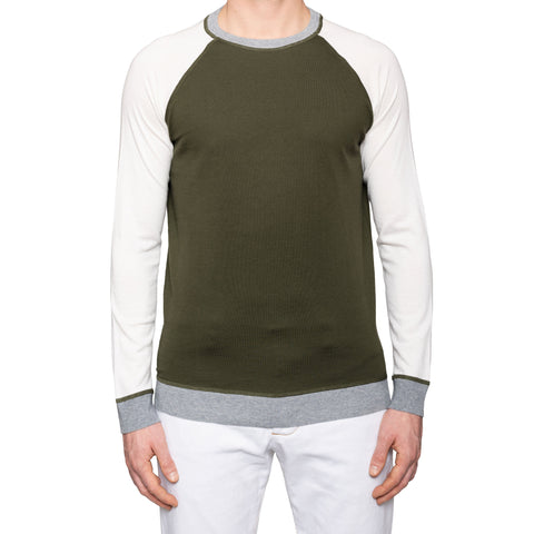 KITON Napoli Green-White Cotton-Cashmere Crewneck Sweater EU 50 NEW US M