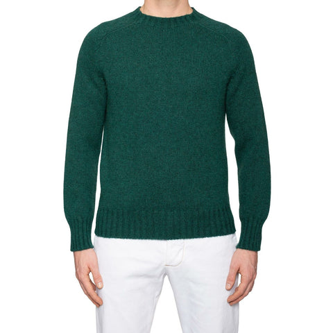 KITON Napoli Green Cashmere Knit Crewneck Heavy Sweater EU 50 NEW US M