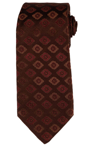 KITON Napoli Hand-Made Seven Fold Brown Flower Medallion Silk Tie NEW - SARTORIALE - 1
