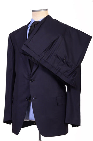 KITON Napoli Hand Made Solid Navy Blue Wool Suit NEW Big & Tall Large Size - SARTORIALE - 4