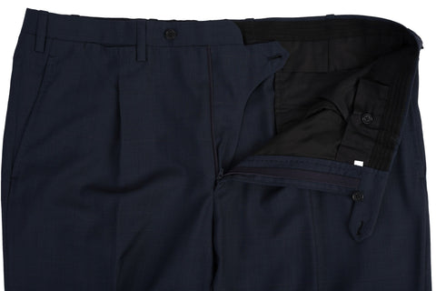 KITON Napoli Handmade Blue Prince of Wales Wool SP Dress Pants EU 54 NEW US 38