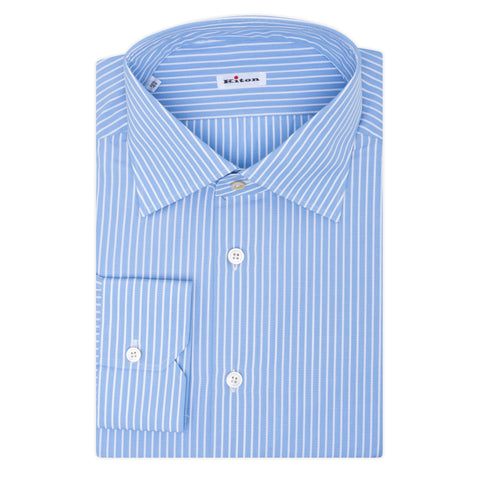 KITON Napoli Handmade Blue Striped Cotton Dress Shirt 44 NEW US 17.5 Slim Fit