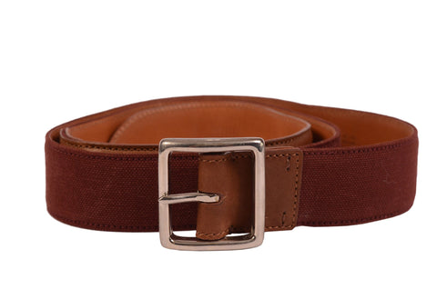 KITON Napoli Handmade Brown Canvas-Calf Leather Casual Belt NEW With Box - SARTORIALE - 2