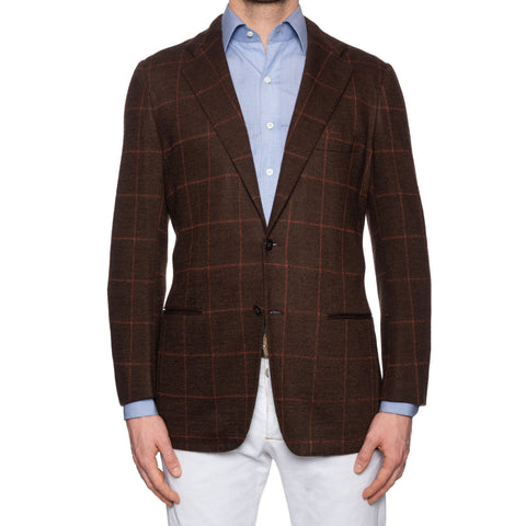 KITON Napoli Handmade Brown Windowpane Cashmere Jacket EU 50 NEW US 38 40