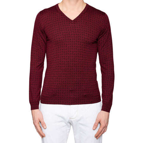KITON Napoli Burgundy Cashmere-Silk V-Neck Sweater EU 50 NEW US M