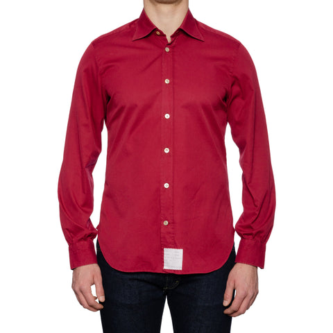 KITON Napoli Handmade Red Cotton Dress Shirt NEW US M Slim Fit