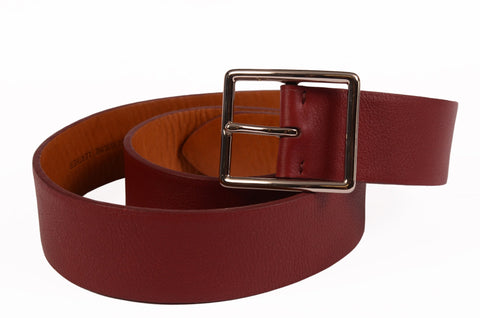 "KITON Handmade Crimson Scotch Grain Leather Dress Belt 95 cm 38"" NEW With Box - SARTORIALE - 1"
